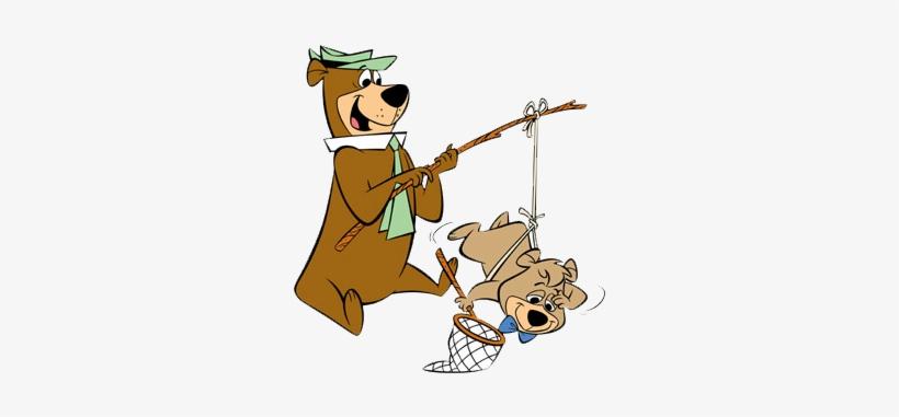 Yogi Bear With Booboo On A Fishing Pole Ready To Catch