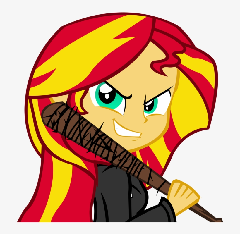 Ngrycritic, Baseball Bat, Clothes, Equestria Girls, - Sunset Shimmer The Walking Dead, transparent png #1864821