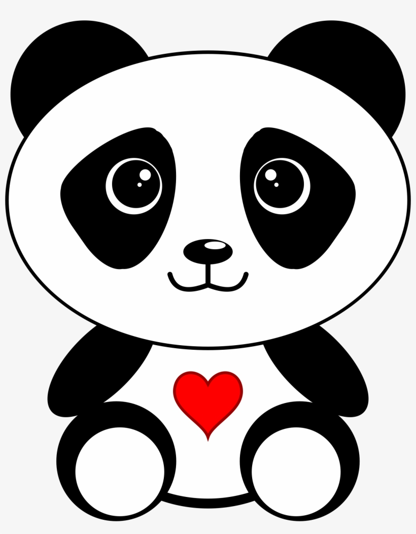 Panda With A Heart Picture Free Library Dibujos De Oso Panda