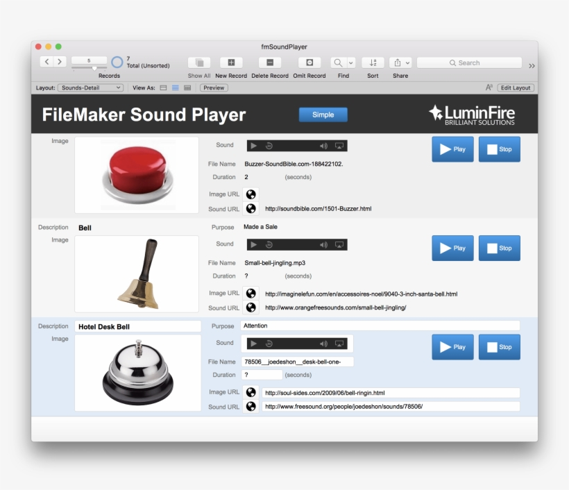 Fmsoundplayer Sound Effects On The With Filemaker Luminfire - Bell