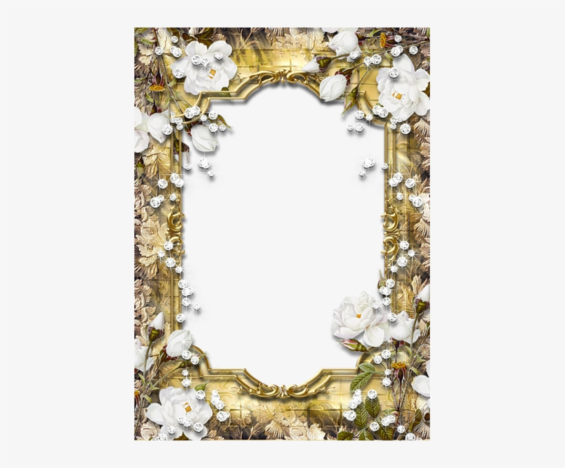 Download Frame Png Gratis - Gold Frame With Roses, transparent png #1870804