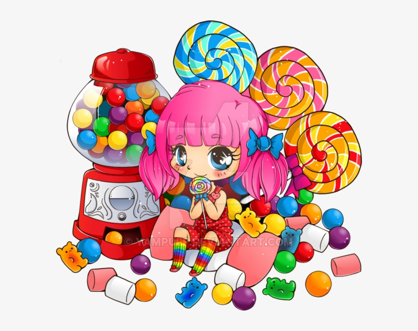 Candy Pile Png Svg Freeuse Library - Chibi Girl With Candy, transparent png #1874067