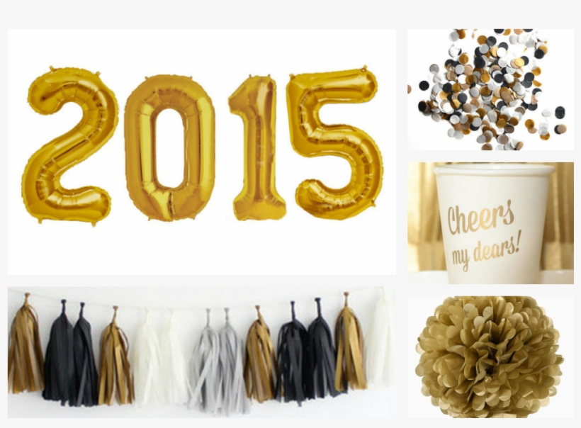 A Simple Time To Party, Of Course, At Home - Gold And Black New Year Party Decor, transparent png #1877168