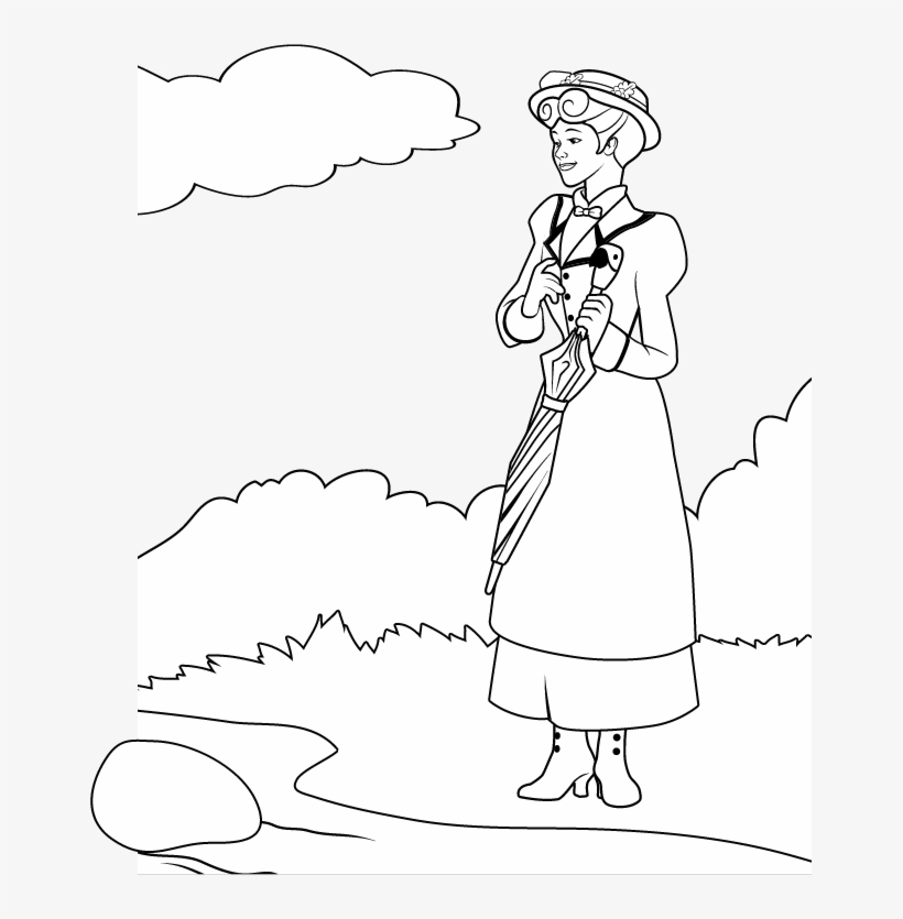 Free Coloring Page How To Draw Mary Poppins, Julie - Julie Andrews Coloring Pages, transparent png #1879774