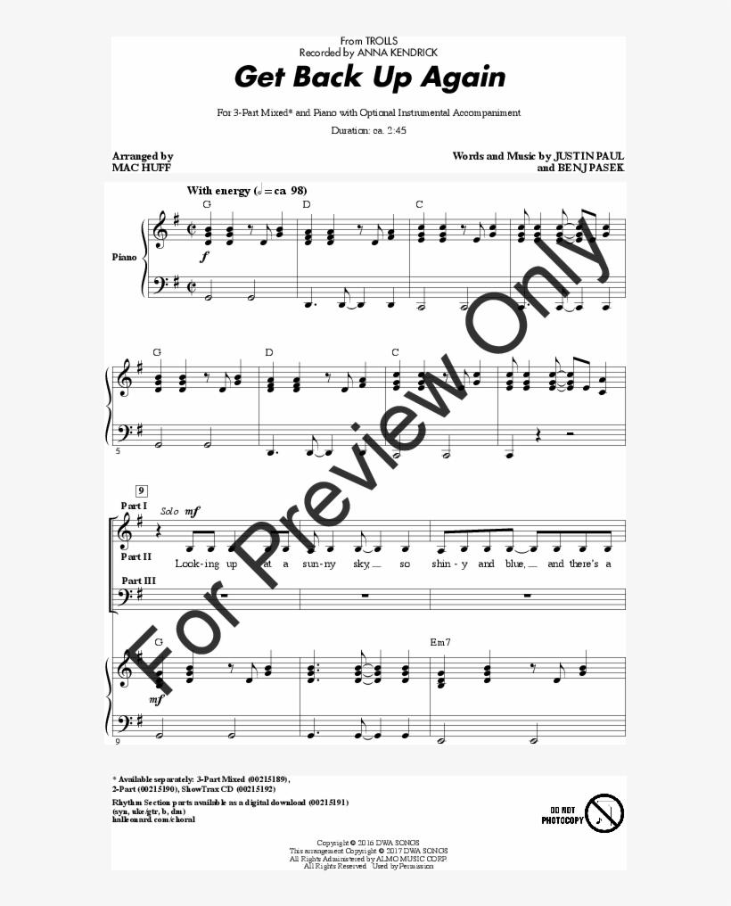 Get Back Up Again Thumbnail - Music Sheet How Far I Ll Go, transparent png #1888082