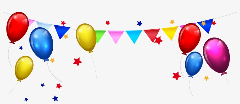 Cake Cartoon Clip Art Balloon Bunting Stars - Happy Birthday Background Png, transparent png #1888910