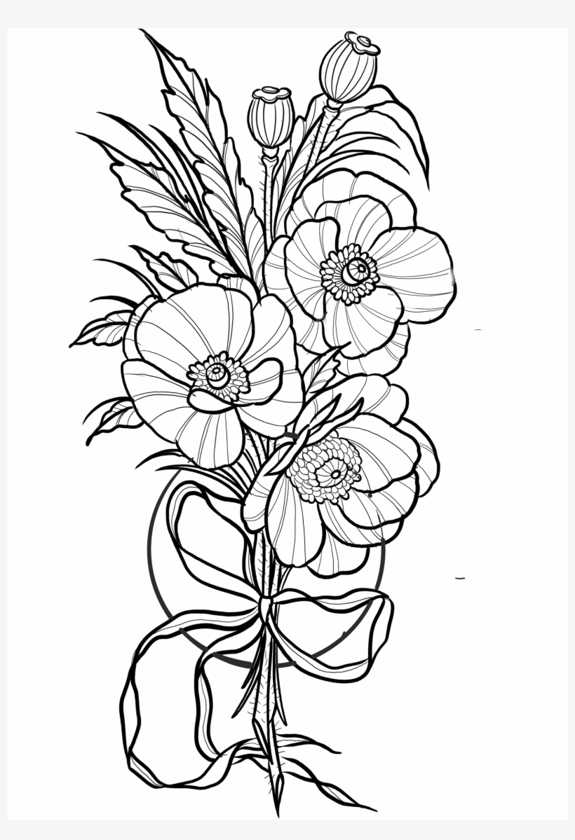 Png Free Library Cosmos Drawing Tattoo - Cosmo Flower Tattoo Designs, transparent png #1899846