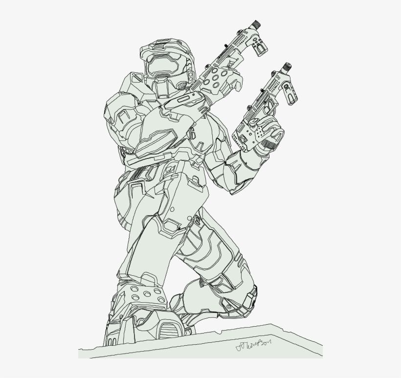 Master Chief Sketch Drawing Free Transparent Png