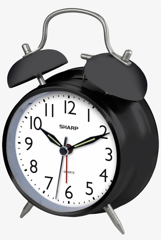 Clock Png Photos - Sharp Quartz Analog Twin Bell Alarm Clock, Black, transparent png #194709