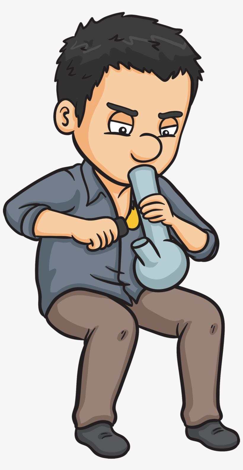 Purchase Marijuana Bong West Wendover Nv - Cartoon Man Smoking A Bong, transparent png #194829