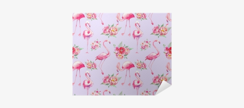 Watercolor Flamingo And Flowers Seamless Pattern - Wallpaper, transparent png #195821