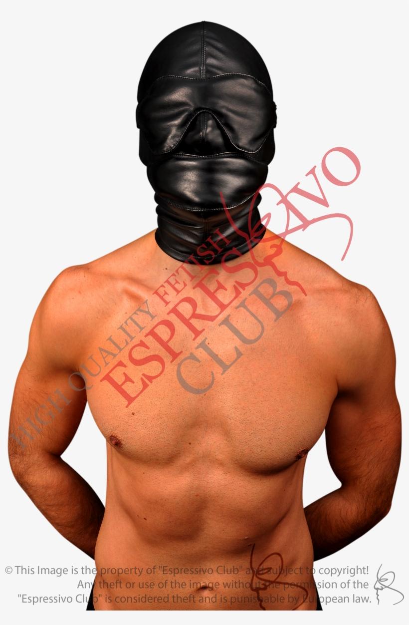 Bdsm-gear For Men Leather Bondage Hood With Soft Blindfold - Barechested,  transparent png