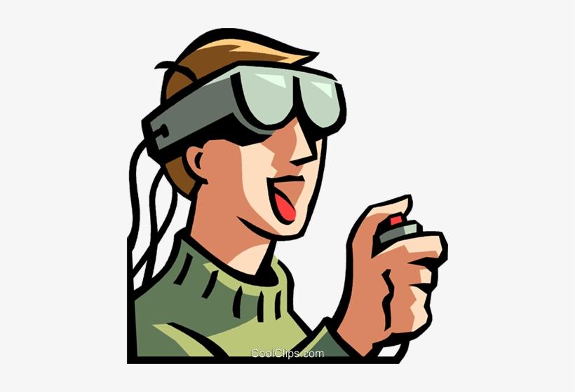 Boy Wearing A Virtual Reality Headset Royalty Free - Virtual Reality Clip Art, transparent png #1912105