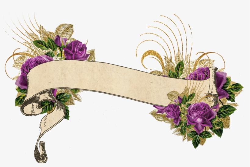 Purple And Gold Vintage - Watercolor Floral Banner Png, transparent png #1915474