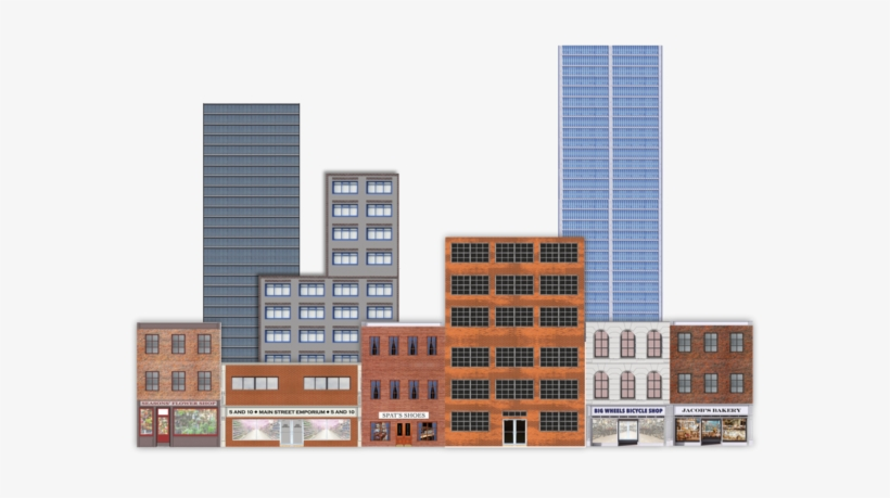 Deluxe O Scale Model Train Background Kit With Storefronts