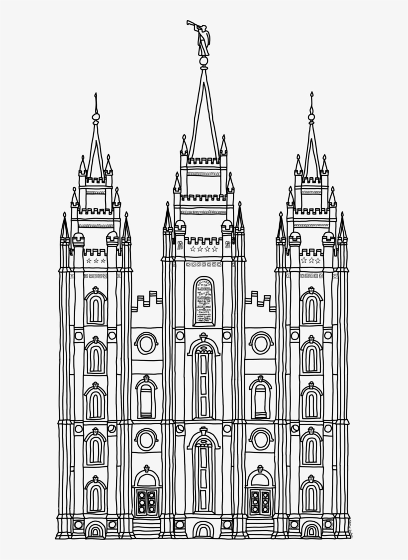 Temple Clipart Outline Lds Temple Black And White Clipart Free
