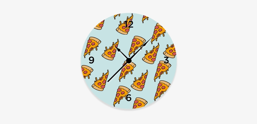 Pizza Emoji Patter Round Wall Clock - Pizza, transparent png #1921930