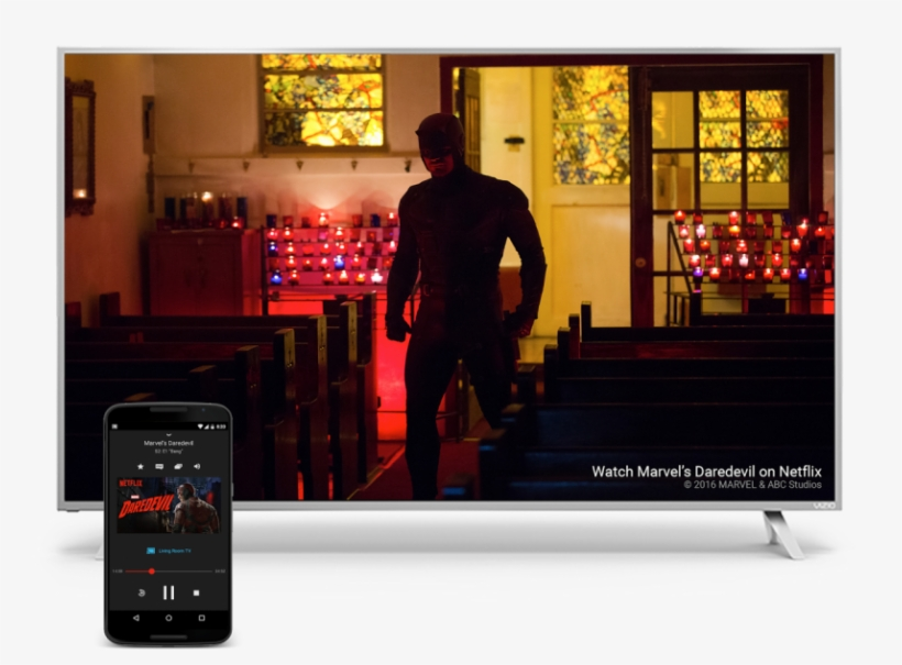 Behind Chromecast, To Speakers, Android Tvs, Game Consoles - Daredevil Netflix, transparent png #1922779