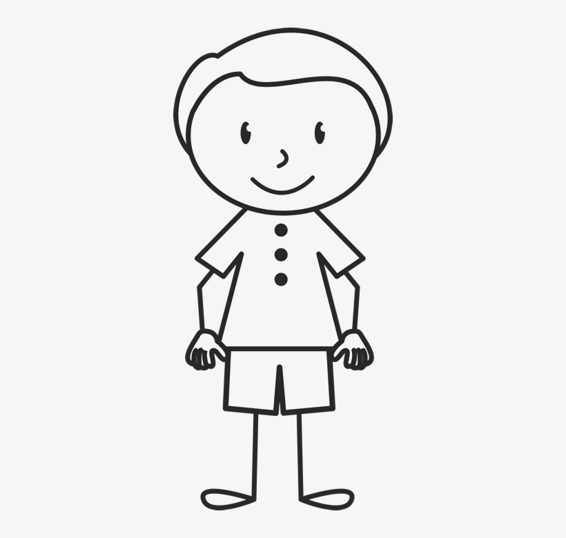 Clean Cut Boy In Stamp Stick Figure - Stick Figure Girl Ponytail, transparent png #1929374
