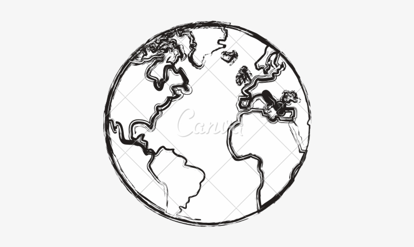 Line Drawing Of Globe At Getdrawings - Earth Sketch