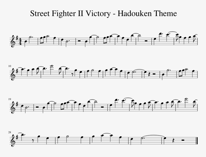 Street Fighter Ii Victory Hadouken Theme - Into The New World Sheet Music, transparent png #1932787