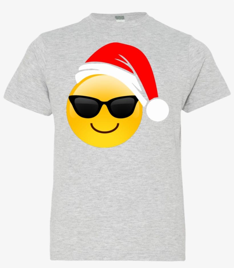 Emoji Christmas Shirt Cool Sunglasses Santa Hat Family - Cool Shades Emoji Emoticon Bucket Bag, transparent png #1936514