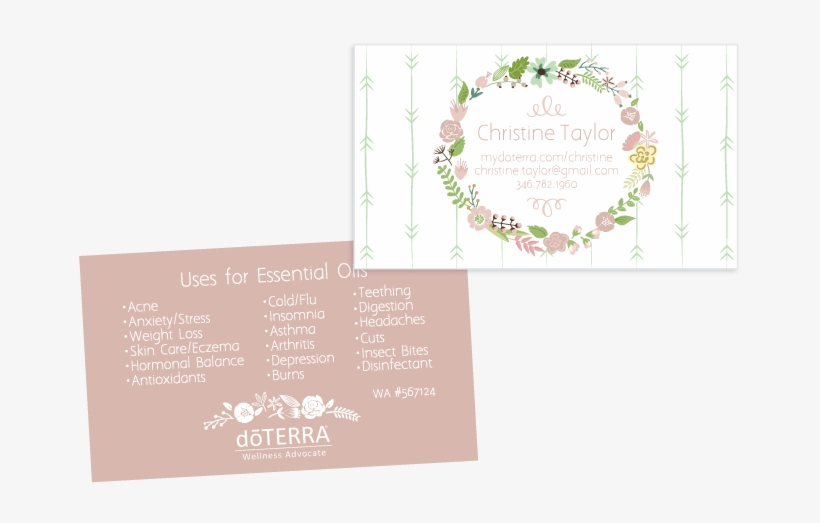 Light Pink Wreath Theme Doterra Business Card For Wellness - Floral Thank You Greeting Cards, transparent png #1944935