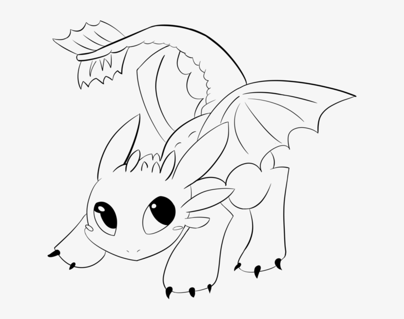 - Toothless Lineart By Araly - Easy Baby Toothless Coloring Pages - Free  Transparent PNG Download - PNGkey