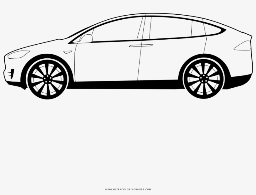 Tesla Model X Coloring Page Executive Car Free Transparent Png