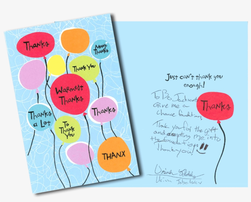 Letters Like This Is Why Bo Does What He Does - Balloons Thank You Card With Embossing, transparent png #1965650