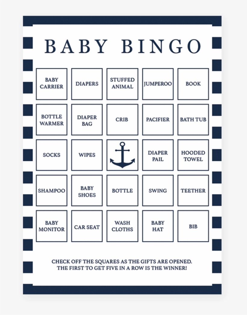 photograph regarding Printable Baby Shower Bingo named Nautical Printable Little one Bingo Playing cards Through Littlesizzle - Boy or girl