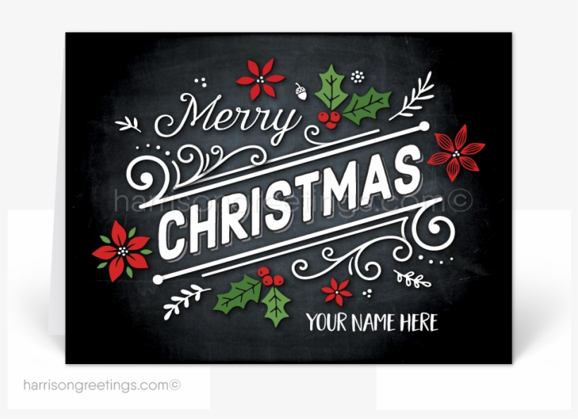 Chalkboard Merry Christmas Holiday Cards - Christmas Day, transparent png #1980526