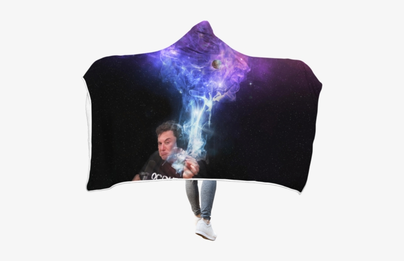 3d Elon Musk Smoking Out Space Full-print Hooded Blanket - Elon Musk Smokes T Shirt, transparent png #1987199