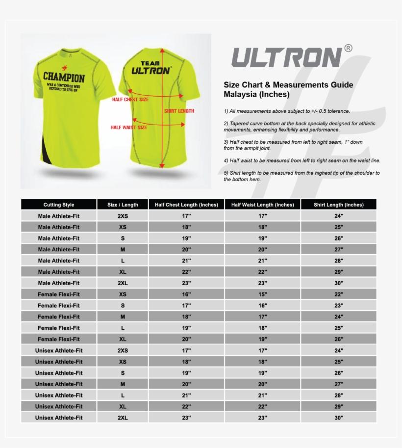 Ultron Size Chart All - Malaysia Shirt Size Chart - Free ...