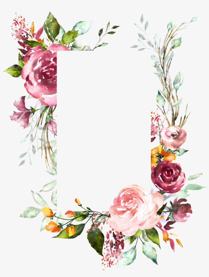 H804 Flower Frame, Flower Art, Watercolor Flowers, - Vintage Floral Wedding Invitation Background Designs, transparent png #20402