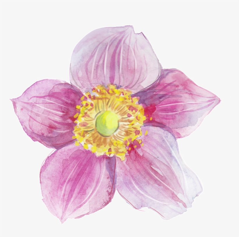 This Graphics Is Pink Heart Flower Transparent Decorative - Watercolor Painting, transparent png #20739