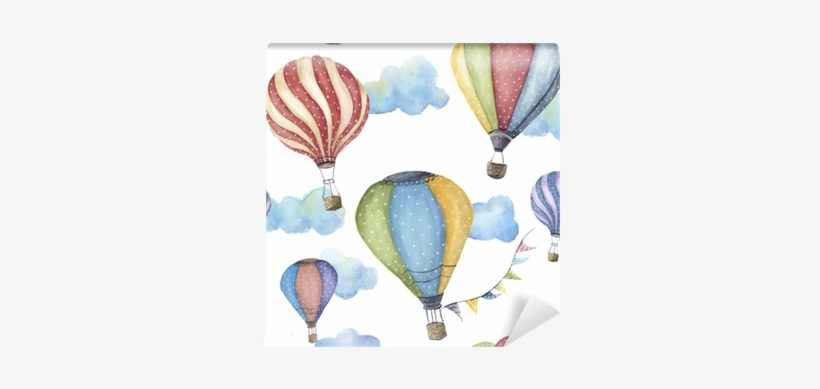 Watercolor Pattern With Cartoon Hot Air Balloon - Hot Air Balloons Watercolor, transparent png #21161