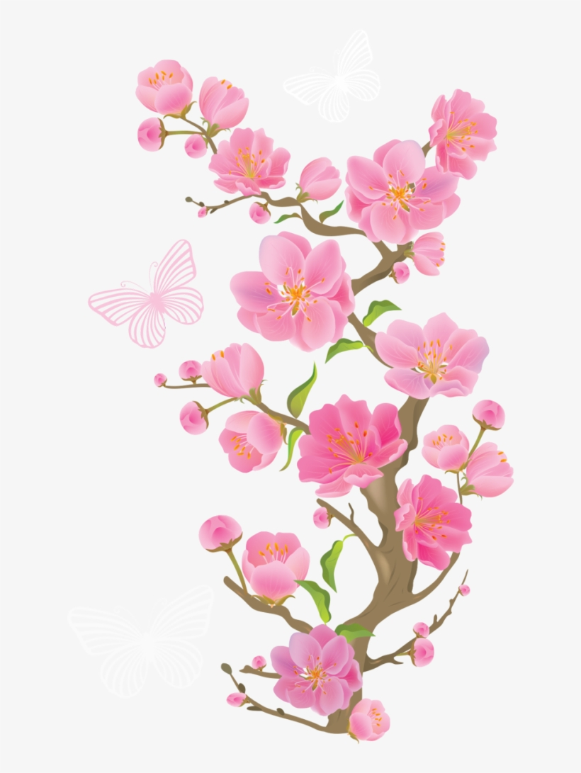 Spring Branch With Butterflies Png Clipart Picture - Cherry Blossom Transparent Background, transparent png #21480
