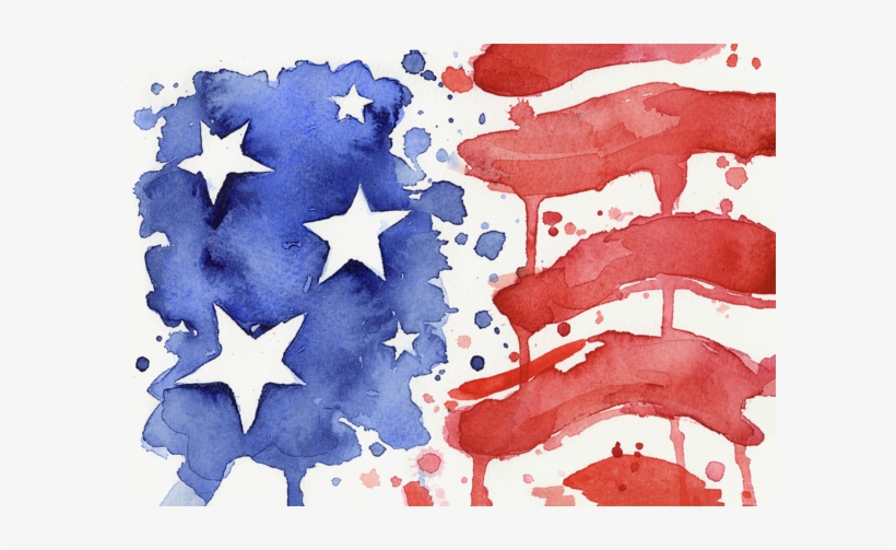 Click And Drag To Re-position The Image, If Desired - American Flag Watercolor Painting, transparent png #21751