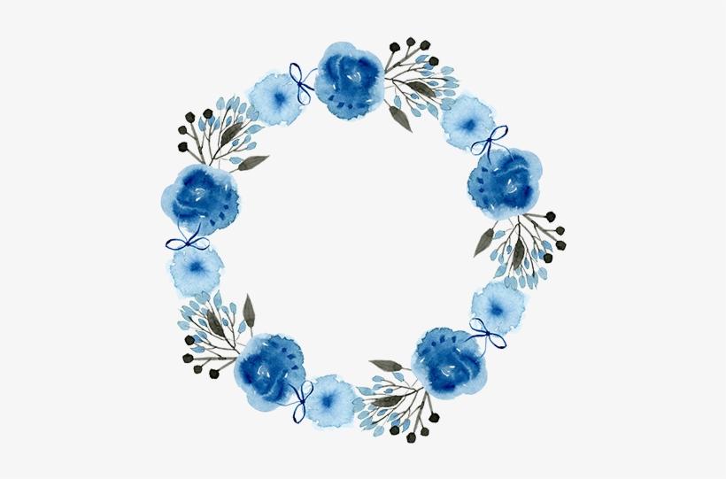 Wreath Watercolor, Watercolor Art, Watercolor Illustration, - Blue Watercolor Wreath Png, transparent png #22478