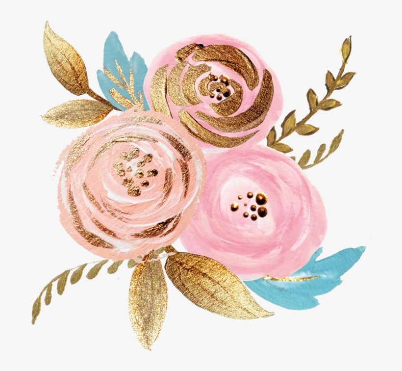 Pink Gold Watercolor Plant Ink Paint Flowers Freetoedit - Rose Gold Watercolor Floral, transparent png #22950
