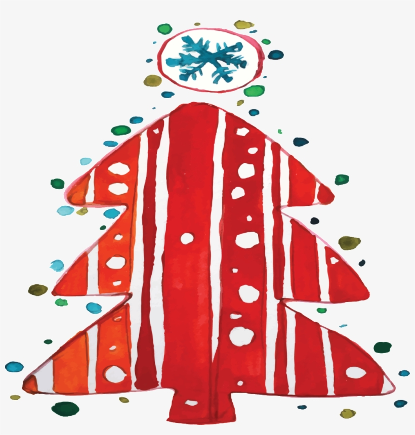 Hand-painted Watercolor Red Christmas Tree Transparent - Illustration, transparent png #23116