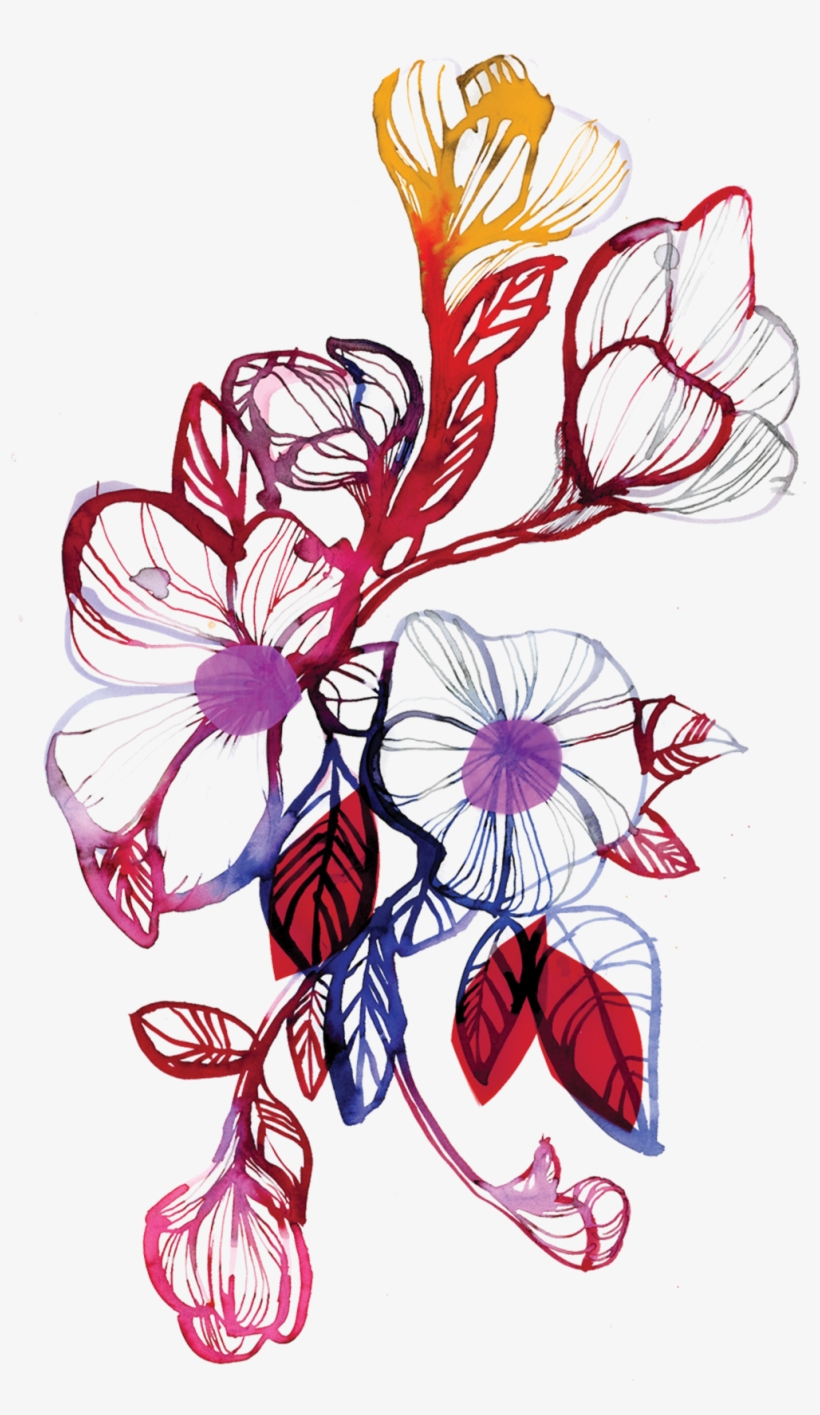 Floral Flourish - Watercolour Flowers Tattoo Sketch, transparent png #23481