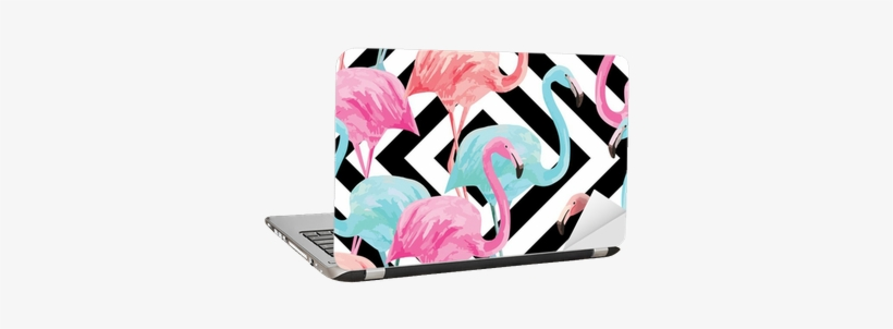 Flamingo Watercolor Pattern, Geometric Background Laptop - Tropical Wallpaper Flamingo, transparent png #24066