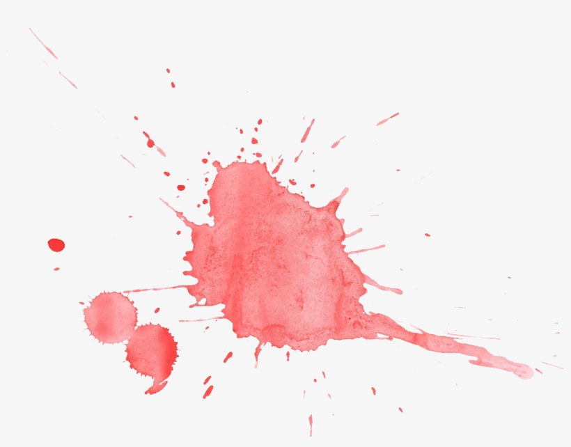 Red Watercolor Splatter - Coral Watercolor Splashes Png, transparent png #25124