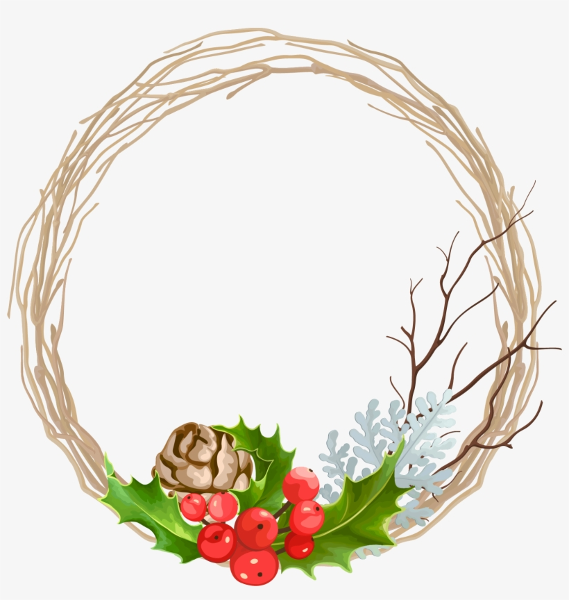 Svg Transparent Stock Christmas Garland Decoration - Free Christmas Holly Wreaths Vector, transparent png #26449