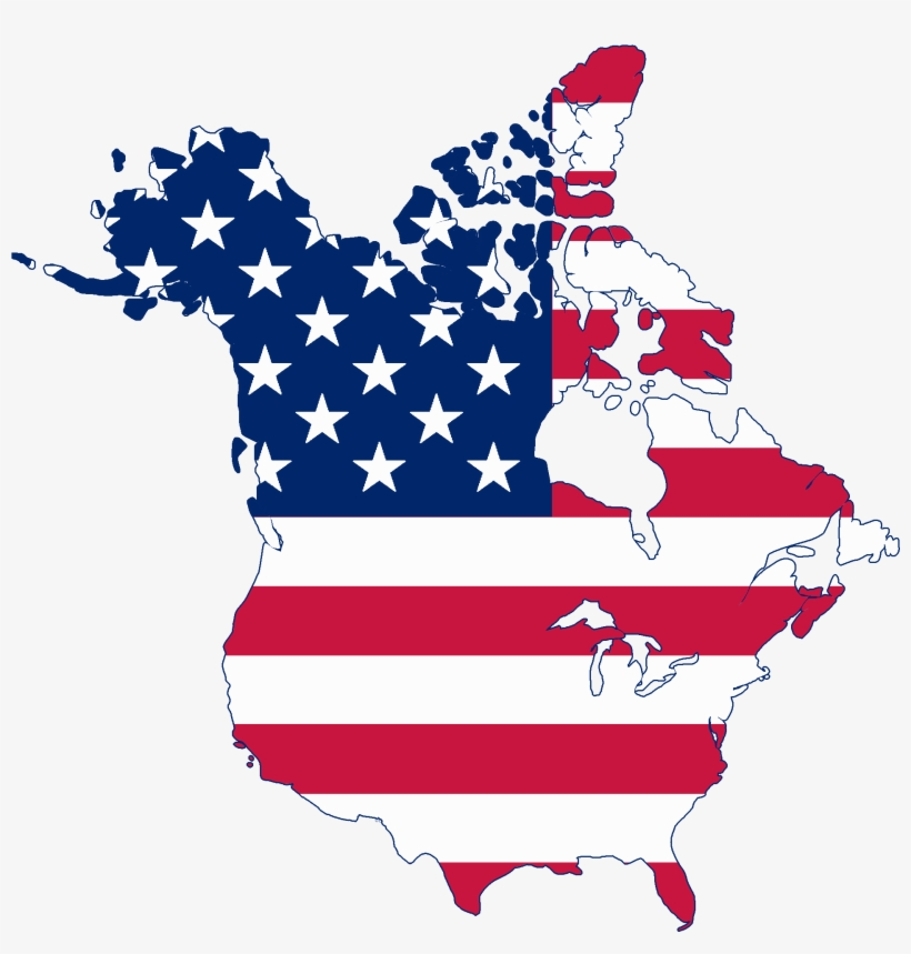Flag Map Of Canada And United States - Usa Canada Flag Map - Free ...
