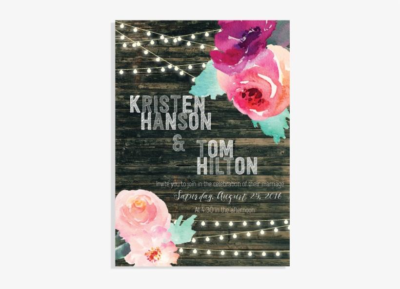 Watercolor Floral & Inspired Wood Art Invitation Set - Hybrid Tea Rose, transparent png #27178