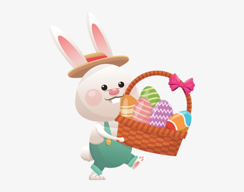 Easter With Eggs Basket - Easter Bunny, transparent png #27341