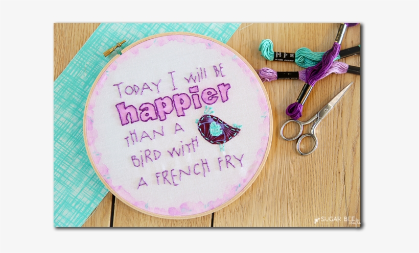 Bird With A French Fry Embroidery - Embroidery, transparent png #29809